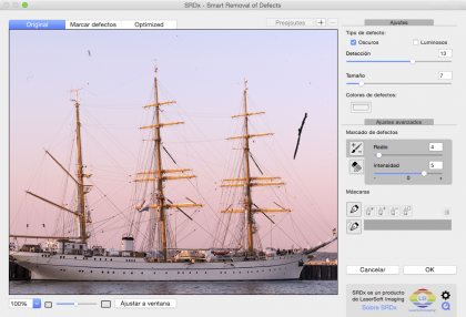Los defectos pueden eliminarse sin afectar a los detalles de la imagen.